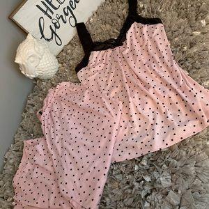 Linea Donatella medium pink black polkadot pajamas